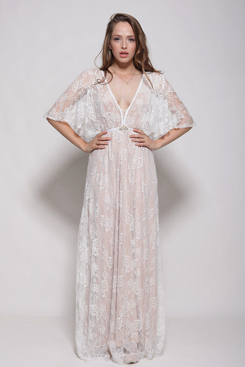 White Plunging-Neck Lace Maxi Dress