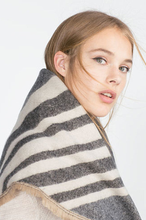 Retro Grey Striped  Cape