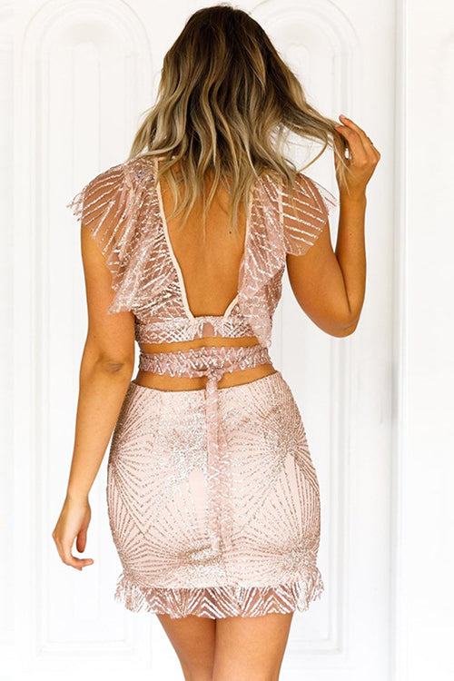 Plunging Neck Tie Back Body-Con Suit