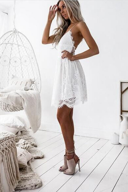V Neck White Spaghetti Mini Dress