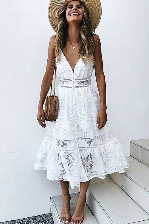 White Plunging Neck  Lace Midi Dress