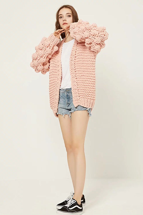 Pink Fluffy Ball Warm Sweater Coat