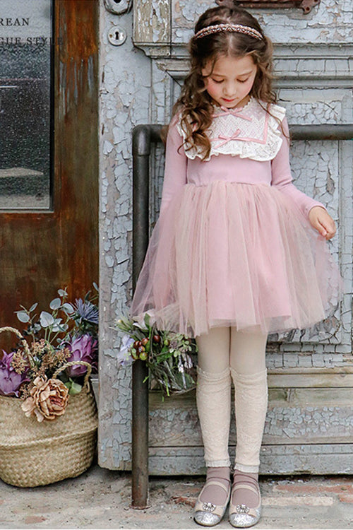 Girl Long Sleeve Knot Lace Dress