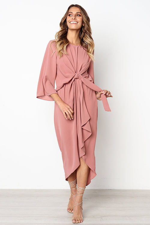 Cozy Delight Tie Front High/Low Dress