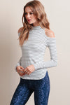 Black Striped Cold Shoulder T-Shirt