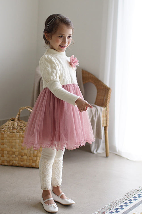 Pink tight Sleeve Tulle Dress