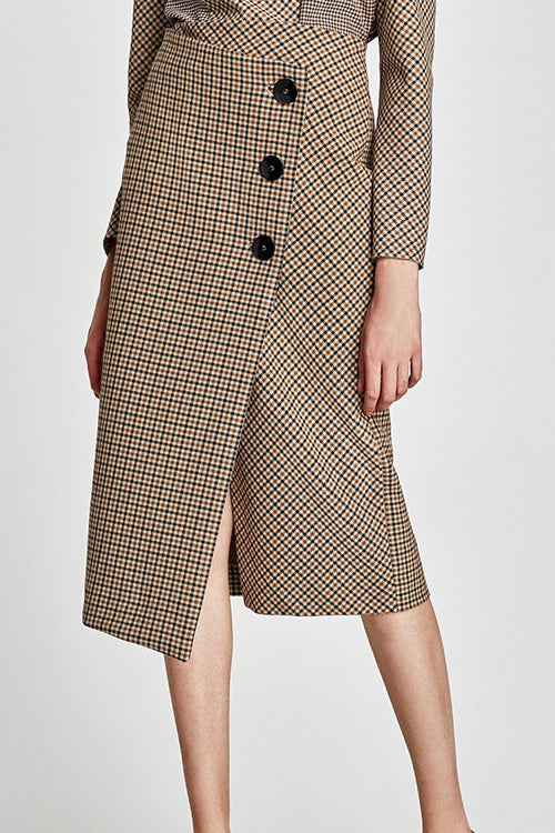 High-Waist Check Pattern Skirt