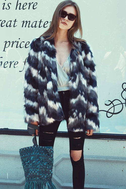 Mixed Colors  Artificial Fur Coat