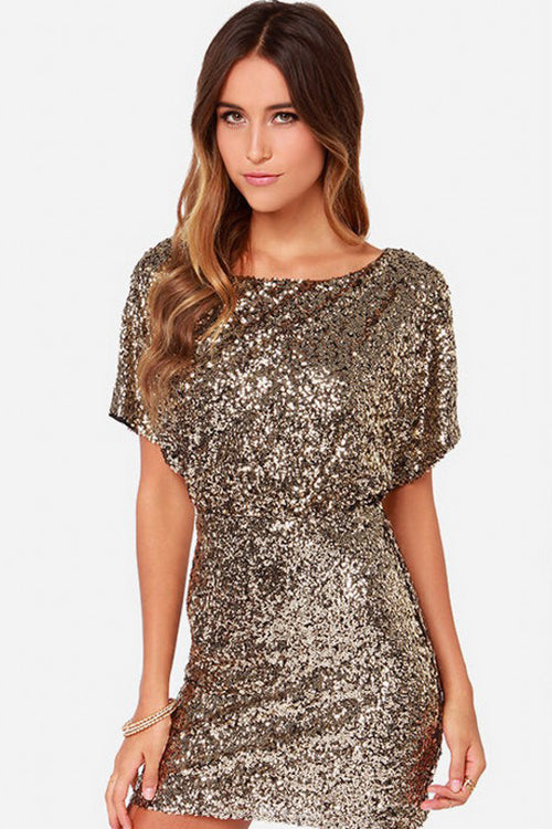 Golden Sequin Open Back Mini Dress