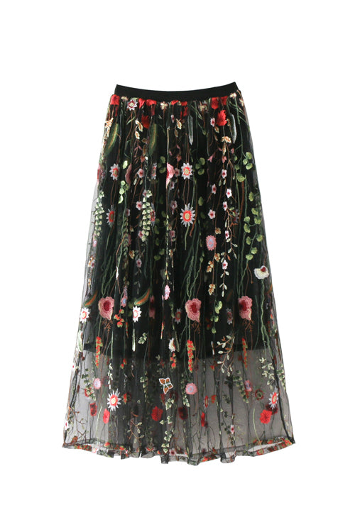 Floral Embroidered Tulle Midi Skirt