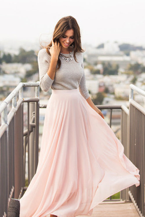 Light Pink Chiffon Skirt