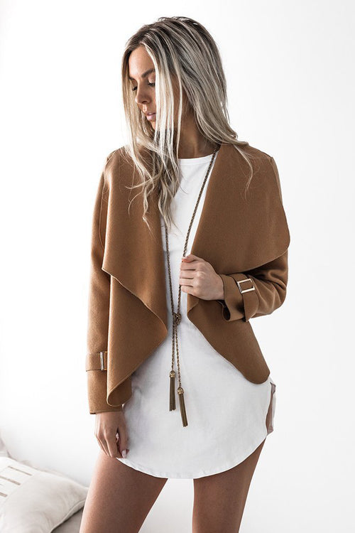 Short Turn Down Collar Coat
