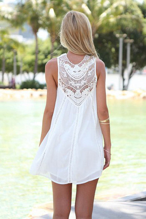 Lace Embroidered Sleeveless Mini Dress