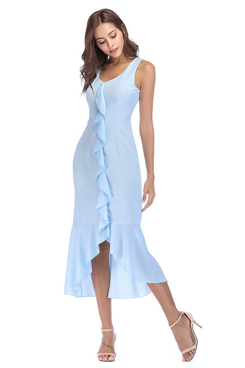 Light Blue Sleeveless Ruffle Dress