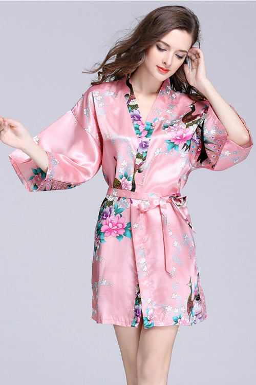 Silk Print Surplice Nightclothes