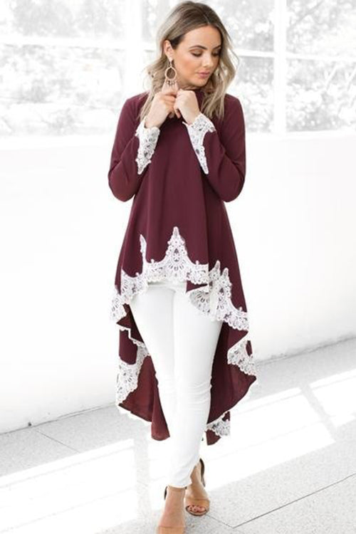 Cozy Delight Lace High/Low Top