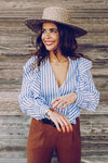Blue Stripe Ruffle Blouse