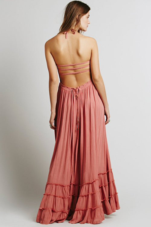 Backless Spaghetti Ruffle Hem Maxi Dress
