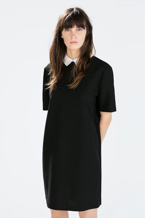 Small White Collar Midi Dress