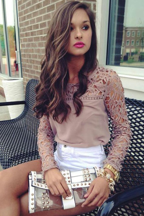 Pink Hollow-Out Lace Blouse