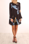 Bell Sleeve Print Dress