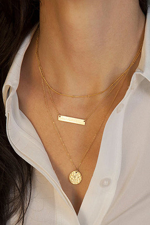 Geometrical Metallic Paillette Necklace