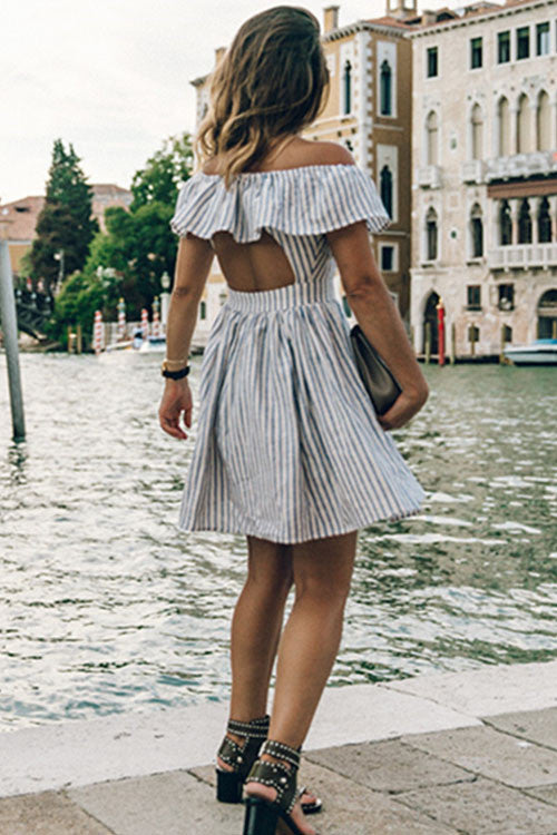 Backless Stripe Off the Shoulder Mini Dress
