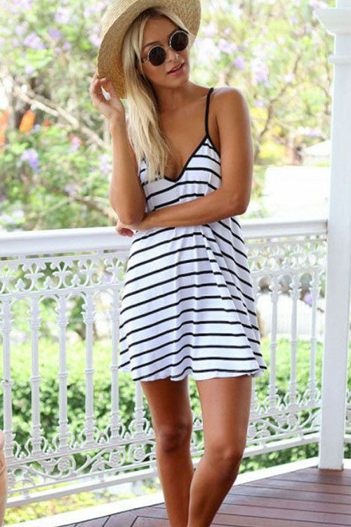 Stripe Open Back Slip Dress