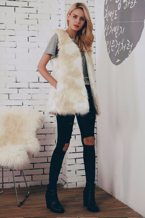 White Sleeveless Artificial Fur Coat