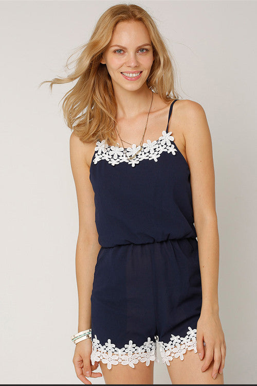 Navy Lace Panel Slip Jumpsuit