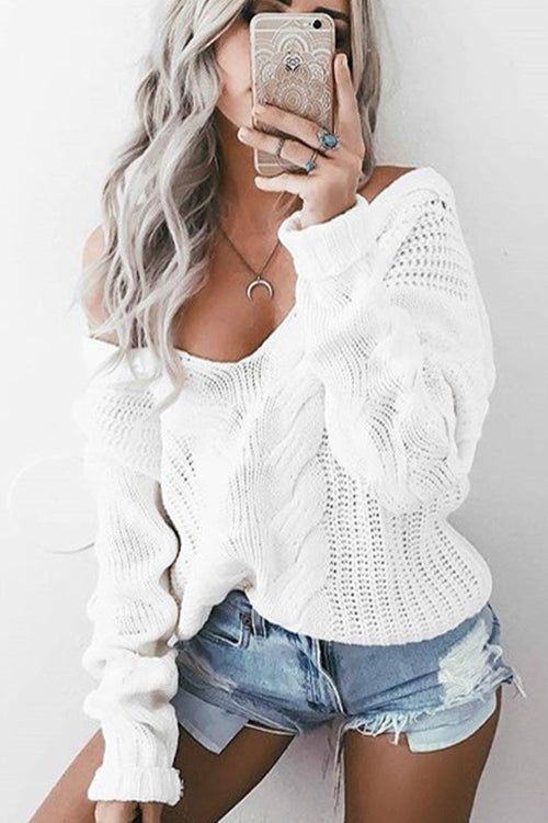 White Plunging Neck Sweater