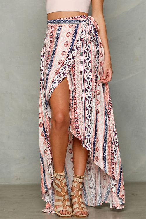 Bohemian See-Through Tie-Waist Skirt