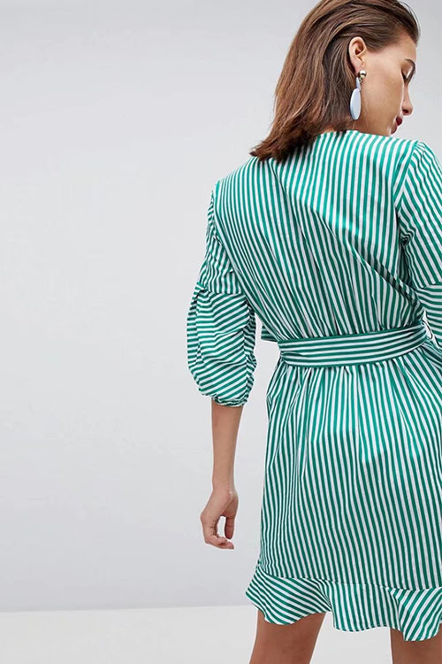 Green Stripe V-Neck Puff Sleeve  Mini Dress