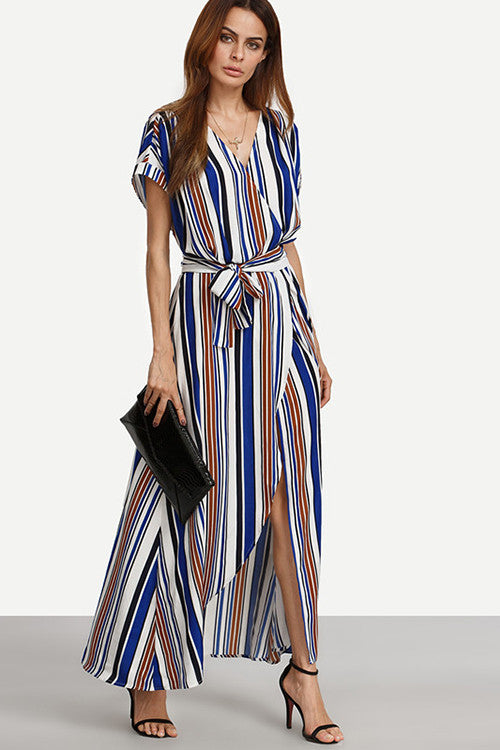 Multi Colors V-Neck Striped Maxi Dress