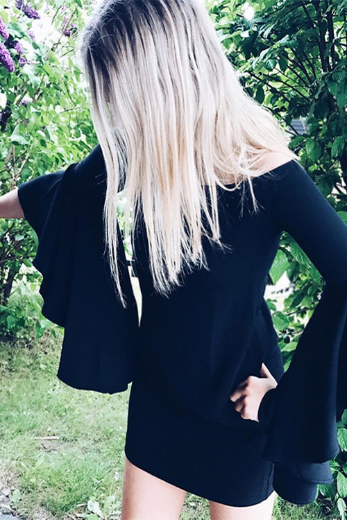 Black Ruffle Sleeve Mini Dress