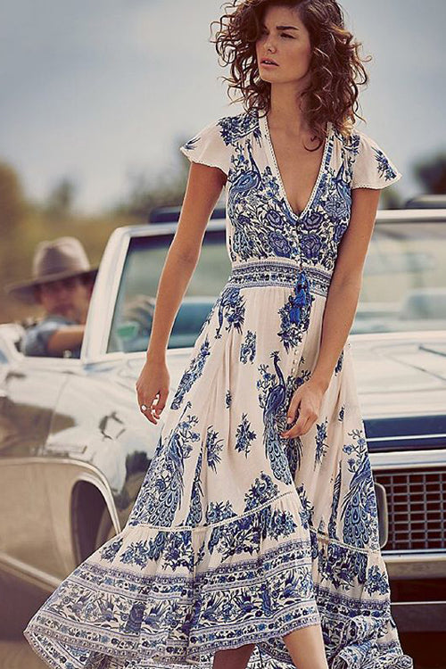 White Print Plunging Neck Maxi Dress