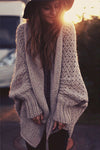 Happily Weather Puff Sleeve Knit Cardigan