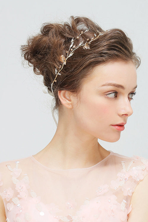 Crystal Leaf Wedding Bride Headwear