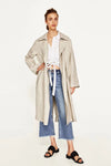 Long Sleeve Linen Trench Coat