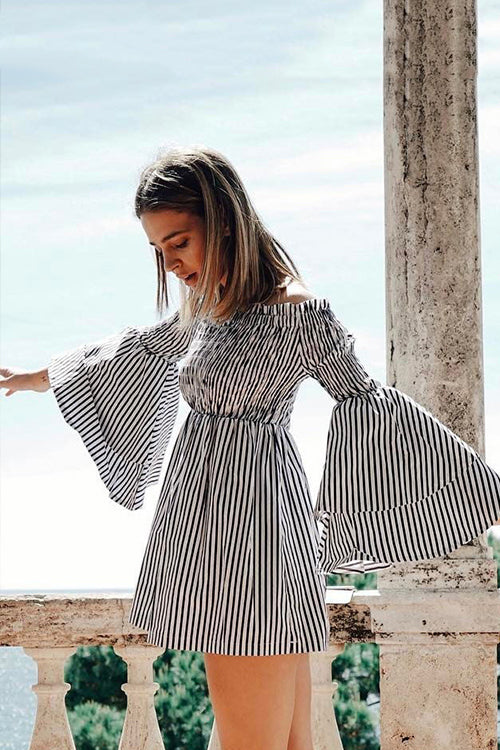 Always Lovely Stripe Bell Sleeve Mini Dress