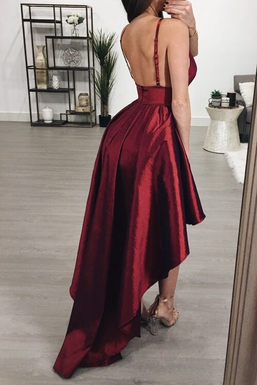 Wine Red Backless High&Low Dress