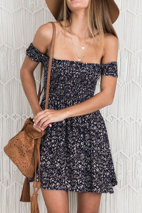 Floral Print Off Shoulder Mini Dress