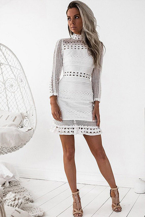 White Hollow-out Mini Dress
