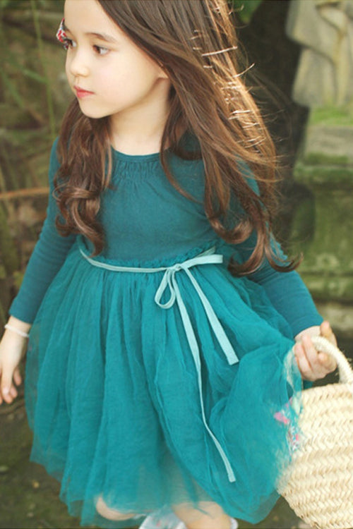 Pure Color Waist Tulle Dress