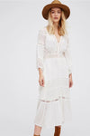 Lace Hollow-Out 3/4 Sleeve Maxi Dress