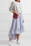 Blue Stripe High&Low Ruffle Skirt