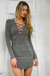 Cross Front Long Sleeve Mini Dress