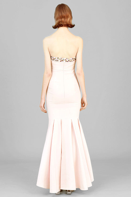 Beading Embroidery Strapless Maxi Dress