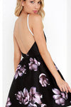 Black Spaghetti Backless Halter Neck Print Mini Dress