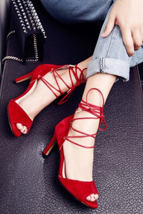 Lace-up Tie High Heel